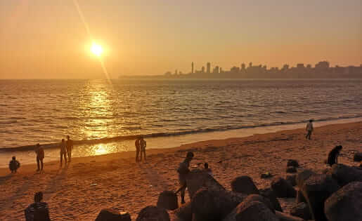 Mumbai - Sonnenuntergang am Chowpatty Beach